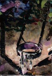 #stayhome , 6,5 X 9 cm, nailpolish on canvasplate, 2021