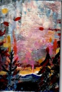#Stayhome 4, 15 X 10 cm ,nailpolish on canvas plate, 2020